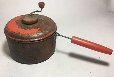 Popcorn Popper - Antique - Vintage red wood handle Stove Campfire Rusty Decor
