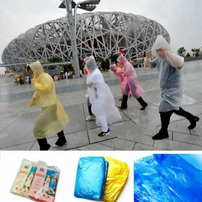 5Pcs Poncho Disposable Plastic Raincoat Emergency Rain Waterproof Camping Eyeful