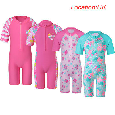 UK Warehouse Kid Girls UV 50+ Sun Safe Surf Bath Swimwear Swimming Costume 1-11Y