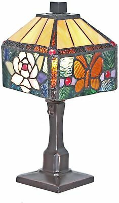 Stained Glass Accent Lamp Tiffany-Style Bedside Nightlight Rose Butterfly