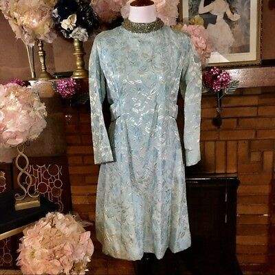 Vintage 1960's Light Blue Brocade Dress With Long Sleeves Size 6/8