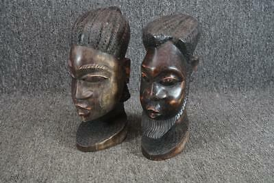 "10"" Tall Set Of Two Hand Carved Man & Woman Bust Figurines"