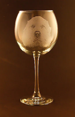 New! Etched Great Pyrenees on Large Elegant Wine Glasses