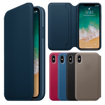 Genuine Original Leder Folio Wallet Flip Tasche Case für Apple iPhone X 10 Cover