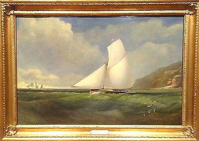 Fine Large 19th Century Royal Yacht Squadron Sailing Cutter Antique Oil Painting
