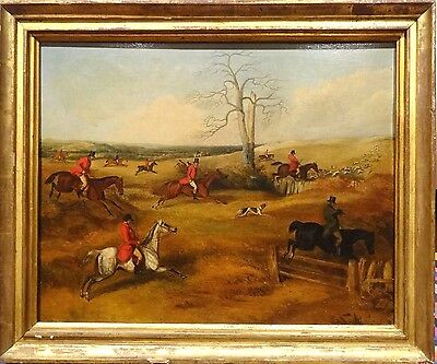 Fine Large Early 19th Century English Fox Hunt Landscape Antique Oil Painting