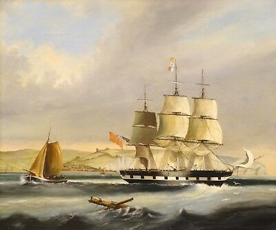 Large 19th Century British Navy HMS Star Off Dover Ship Marine Oil Painting
