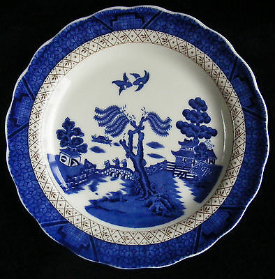 """Doulton Booths Real Old Willow Blue, White and Gold 8.5"""" Plate - Scalloped Edge"""