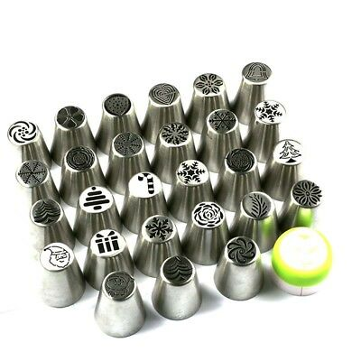 Hot 1~28PCS Rose Flower Pattern Icing Russian Piping Tip Nozzle Pastry Tools