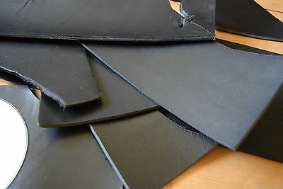 BLACK VEG TANNED LEATHER HIDE OFFCUTS 3-4mm CRAFT REPAIR REMNANT COWHIDE