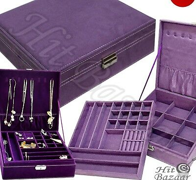 JEWELRY BOX STORAGE Organizer Case Ring Earring Necklace Two Layer Holder Purple