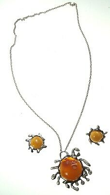 Real Old Amber Silver Rare Necklace with Charm and Clip Earrings Unique Nr 8726