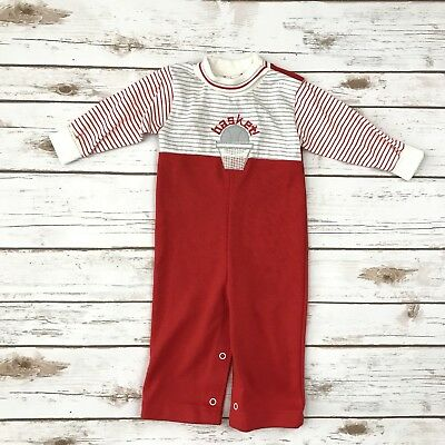 HEALTHTEX Boys VINTAGE Size 12m Red Basketball Themed Longalls Jumper