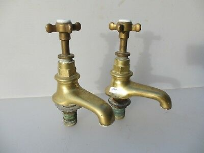 Victorian Brass Taps Bath Sink Basin Porcelain Cap Architectural Antique Vintage