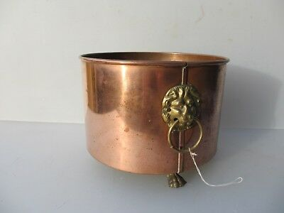 Vintage Copper Trough Tub Planter Plant Pot Antique Lion Loop Handles Old Urn