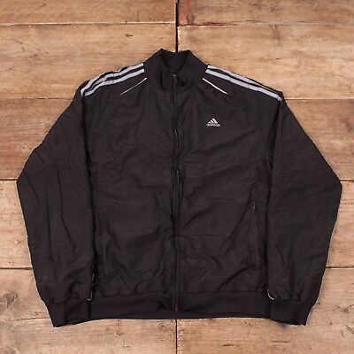 Boys Vintage Adidas Black Three Stripe Climacool Track Jacket XL R7167