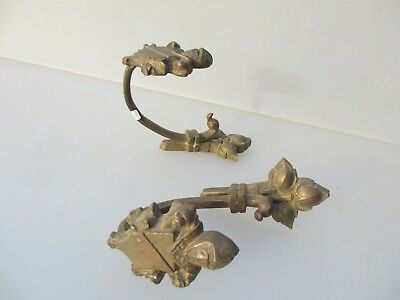 Antique Brass Curtain Tie Backs Hooks French Rococo Baroque Gilt 1800's Pair Old