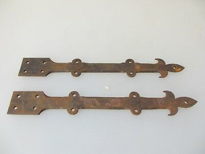 Large Vintage Iron Gate Strap Hinges Brackets Gate Architectural Antique Pair