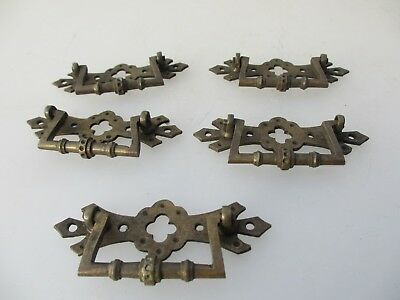 Victorian Brass Drawer Handles Chest Pulls Vintage Old x5 Hardware Antique