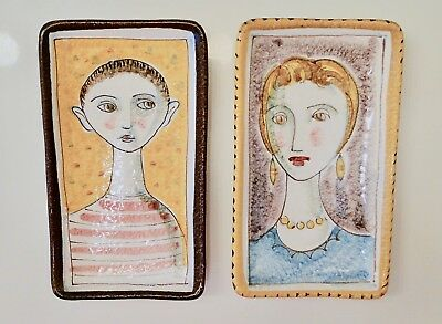 Vintage Italy Portrait Pottery MOTHER & SON ~Set of 2 Mid Century Unusual 7 1/8""