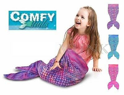 NWOT Comfy Tails Childrens Super Soft and Cozy Fleece Mermaid Tail Throw Blanket
