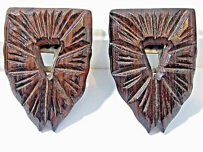 Pair Of Fancy Carved Wood Dress Clips Vintage