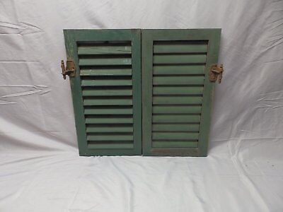 Pair Antique Wood Louvered Shutters House Window Shabby Vtg Chic 24x12  52-18P