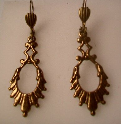 ANTIQUE FINISH Brass Dangle Earrings-FANCY VICTORIAN DROP shape