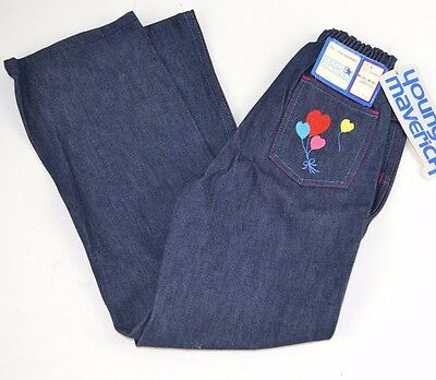 Vtg 1970s Young Maverick Girls Embroidered CUTE HEART BALLOONS Blue JEANS 6 USA