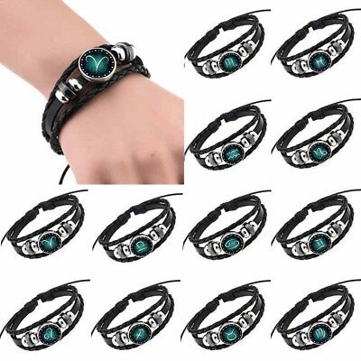 12 Constellation Unisex Leather Cuff Bracelets Gift Bangle Men Women Girls