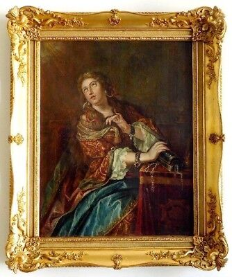 French school portrait of Mary Magdalene 18th Century Original Oil Painting