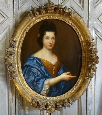 Amazing 18th Century Portrait of French Aristocrat Lady Original Oil Painting