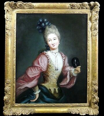 Amazing 18th Century French Oil Painting Portrait of Young Lady