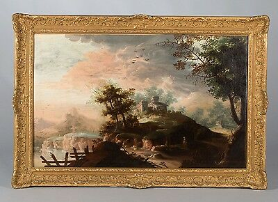 Venetian School, Late 18th Century. Landscapes, Pair of Antique Oil Paintings