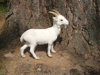 REALISTIC Dairy GOAT fur FURRY ANIMAL REPLICA Toy G710 white FREE SHIPPING USA