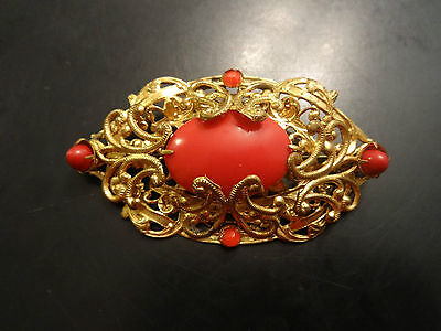 Early Victorian Style Gold Leaf Coral Stone Brooch Pin Orange/Red