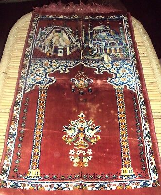 Persian Islamic Antique Hand Knotted Religious Linen Velvet Collectible