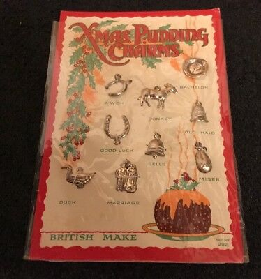Vintage Card Set Of 9 X Solid Sterling Silver Christmas Pudding Charms Unopened