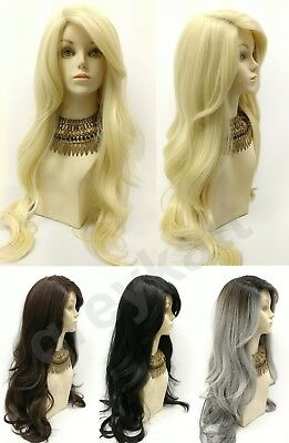 Long Body Wave Straight Pre-Cut Lace Front Wavy Side Part Wig Heat Resistant 28""