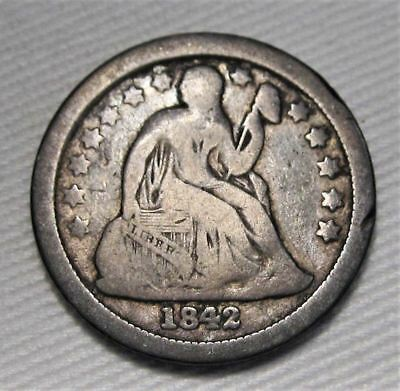 1842-O Seated Liberty Dime VG Coin Estate Piece AE233