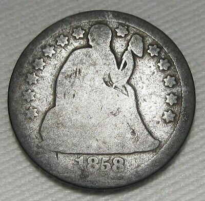 1858 Seated Liberty Dime AG Coin Estate Piece AE237