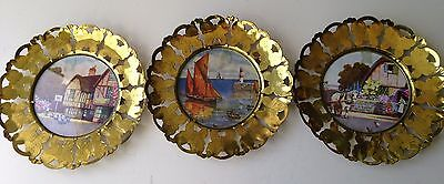 Vintage Brass Butterfly England Lot of 3 Wall Decor Plates Boat Cottage Red Lion