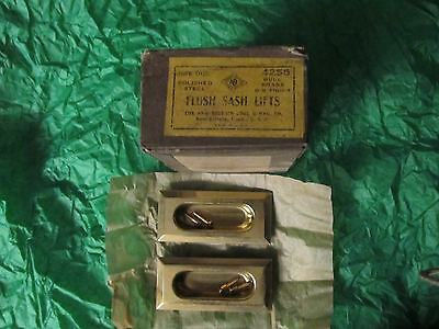 2 Flush Sash Lifts & Screws Recessed Pull Pocket Door Vintage Steel Dull Brass