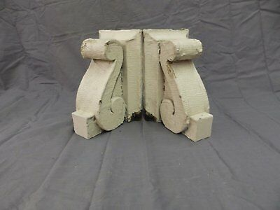 Antique Pair Wood Small Corbels Gingerbread Shabby Architectural Chic 63-18P
