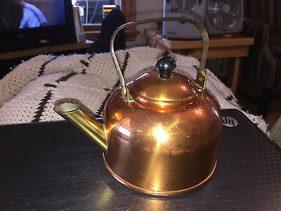 Wonderful Vintage Copper Tea Pot By Coppercraft Guild With Papers