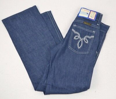 Vtg Young MAVERICK Denim BLUE JEANS Embroidered LOOP DESIGN 6 Slim USA