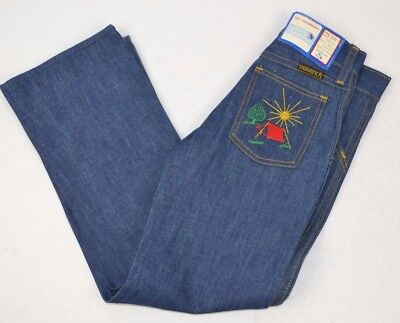 Vtg Young MAVERICK Denim BLUE JEANS Embroidered CAMPSITE TENT Design 6 Slim USA