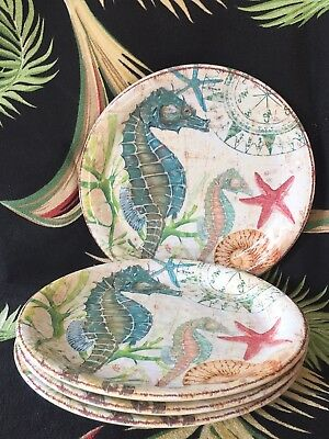 "NEW Pier 1 Melamine Nautical SPIKEY SEAHORSE 9"" Lunch/Salad PLATE SET of 4   NWT"
