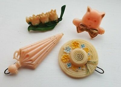 VTG 1940s 1950s Childs Plastic Hair Clips Barrettes Cat Hat Umbrella Pink Goody