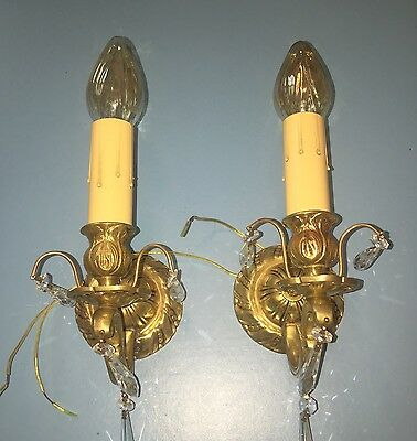 Antique Heavy Brass Sconces Antique Wired Pair Electric Candles Glass Prisms 6B